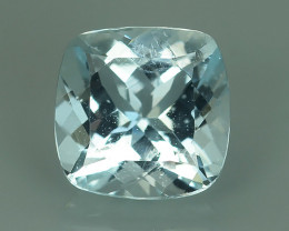 2.20 CTS STUNNING RARE NATURAL LUSTER AQUAMARINE CUSHION