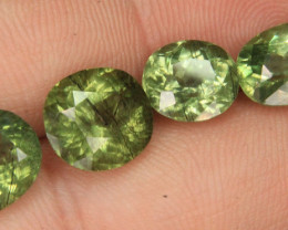 Wow 4 pieces lot of Peridot Gemstone hair-like Ludwigite inclusions From Pa