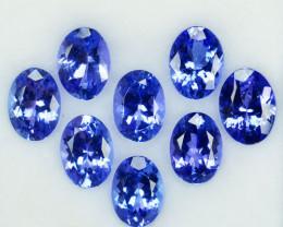 8.21Cts NATURAL TANZANITE -  OVAL - 8Pcs - PURPLE BLUE - TANZANIA