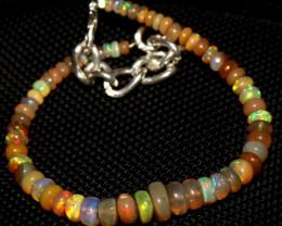 27 Crt Natural Ethiopian Welo Fire Opal Beads Bracelet 220