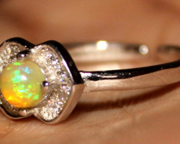 Natural Ethiopian Welo Fire Opal 925 Silver Ring Size (5 US) 326