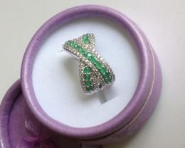 Emerald and Zircon Ring 1.50 TCW