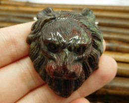 Dragon bloodstone carving lion pendant bead (G0232)