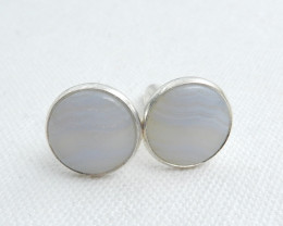 Cufflinks, Silver Cufflinks ,Gemstone accessories, Blue Lace Agate Cufflink