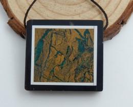 Natural Green Opal ,Obsidian, White Jade Intarsia Pendant,Rectangle Gemston