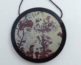 Obsidian, Chohua Jasper Intarsia Pendant,Round Gemstone C485