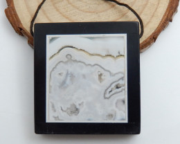 Obsidian, Agate Jasper Intarsia Pendant,Rectangle Gemstone C482