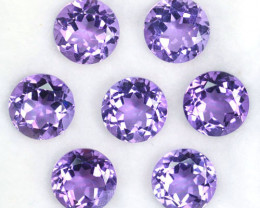 10.55 Cts Natural Purple Amethyst 7.4 mm Round 7 Pcs Bolivia