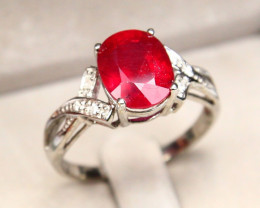 CERTIFIED 9K White Gold Ruby Diamond Engagement Ring A1401
