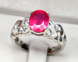CERTIFIED 9K White Gold Ruby Diamond Engagement Ring A1404
