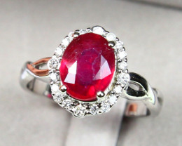 CERTIFIED 9K White Gold Ruby Diamond Engagement Ring A1406