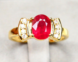 CERTIFIED 9K White Gold Ruby Diamond Engagement Ring A1407