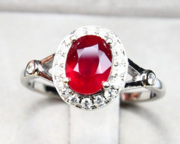 CERTIFIED 9K White Gold Ruby Diamond Engagement Ring A1408