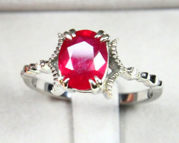 CERTIFIED 9K White Gold Ruby Diamond Engagement Ring A1411