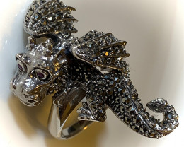 Large Ruby Marcasite Dragon Ring Sterling Silver Size 9