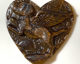⭐Fabulous Flying Dog Carving in Tiger's Eye - No reserve - So beautiful