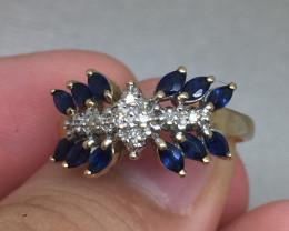 (B1) Splendid $1900 0.75ct Nat Sapphire & Diamond Ring 10K YG 2.8gr