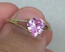 (B3) Marvelous Nat 0.50ct Pink Zirconia Heart Shape Ring 10K YG 1.3gr