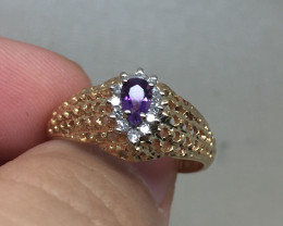 B6) Superb Nat 0.35ct. Amethyst & Diamond Metal Ring 10K YG