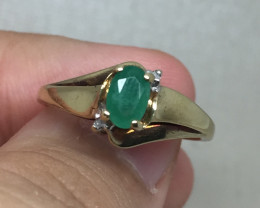 (B7) Superb Nat 0.55ct Colombian Emerald Ring 10K YG 2.5gr