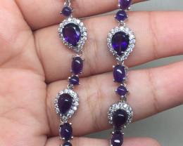 (B10) Wonderful Nat 64.0tcw  Top Intense Purple Amethyst CZ Bracelet