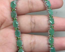 (B20) Superb Nat 74.0tcw. Emerald & Chrome Diopside Bracelet Untreated