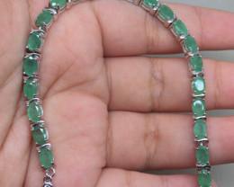 (B23) Splendid Nat 60.0tcw. Top Rich Green Emerald Bracelet Untreated