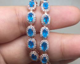 (B25) Gorgeous Nat 60.5tcw.  AAA Paraiba Blue Apatite CZ Bracelet