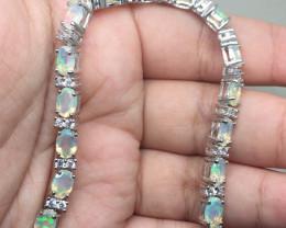 (B29) Exquisite Nat 67.0tcw. Fire Opal CZ Bracelet Untreated