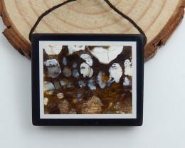 Natural Obsidian, Jasper Intarsia Pendant,Rectangle Gemstone C479
