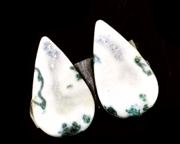 Genuine 18.00 Cts Tree Agate Cabochon Pair