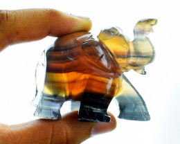 Genuine 650 cts Multicolor Fluorite Carved Elephant