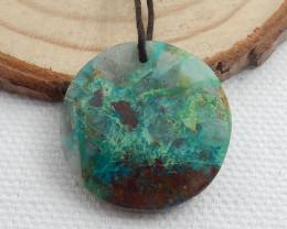22cts Chrysocolla Stone Pendant, Round Chrysocolla Healing stone C505