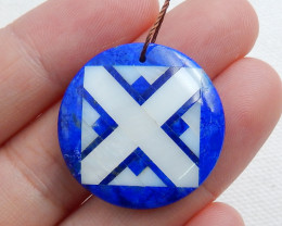 Fashion Obsidian ,Lapis and Shell Intarsia Round Pendant C510
