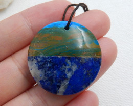 Fashion Beautiful Blue Opal ,Lapis and Shell Intarsia Round Pendant C494