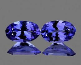 6x4 mm Oval 2 pcs Purple Blue Tanzanite [VVS]
