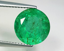 "4.90 ct "" Top Grade Gem "" Round Cut Top Green Natural Emerald"