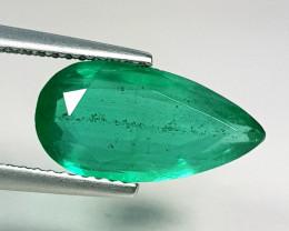 """2.95 ct """" Exclusive Gem """" Pear Cut Top Green Natural Emerald"""