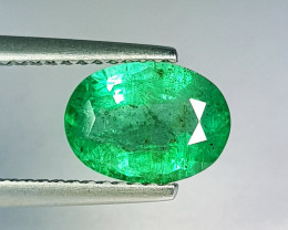 "1.65 ct "" Top Grade Gem "" Oval Cut Top Green Natural Emerald"