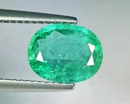 """1.90 ct """" Top Grade Gem """" Oval Cut Top Green Natural Emerald"""