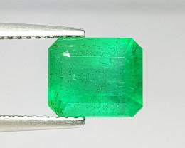 """3.40 ct """" Top Grade Gem """" Octagon Cut Top Green Natural Emerald"""