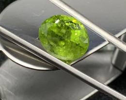 Peridot Loose Gemstone - 8.44 carats Cut Oval IPGTL Certificated