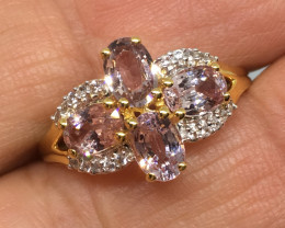 ⭐️SALE ! 3.20 Carat Soft Lavender Sapphires and Diamond Ring 10k Solid Gold