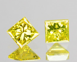 0.06 Cts Natural Sparking Yellow Diamond 2 Pcs Square Africa