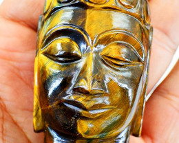 Genuine 630 cts Golden Tiger Eye Buddha Head