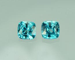 4.37 Cts Stunning Lustrous Cambodian Blue Zircon Pair