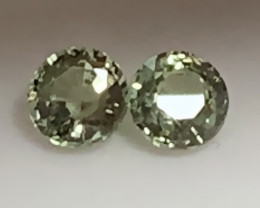 3.7mm GREEN SAPPHIRE PAIR - BRILLIANT CUT JEWELLERY GRADE GEMS