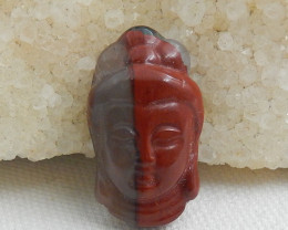 Carving African Blood Jasper Buddha Figurine Gemstone Carving Side Drilled