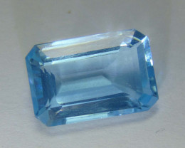 9.25~CTS MARVELOUS octogan  NATURAL  blue TOPAZ 9.25 cts