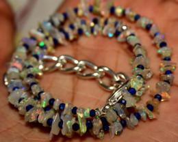 38 Crt Natural Ethiopian Welo Fire Uncut Opal & Lapis Lazuli Necklace